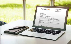 Laptop showing Polyfoam data