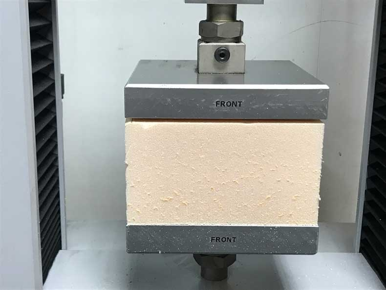 Polyfoam in compression test machine