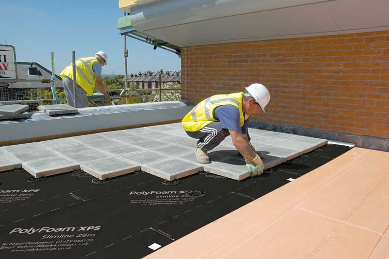 Installing a water control layer on an inverted warm flat roof